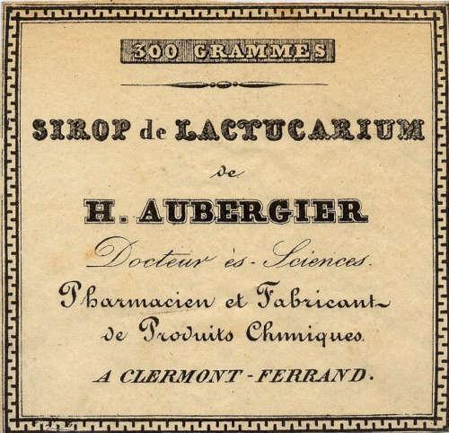 Aubergier syrup of lactucarium label